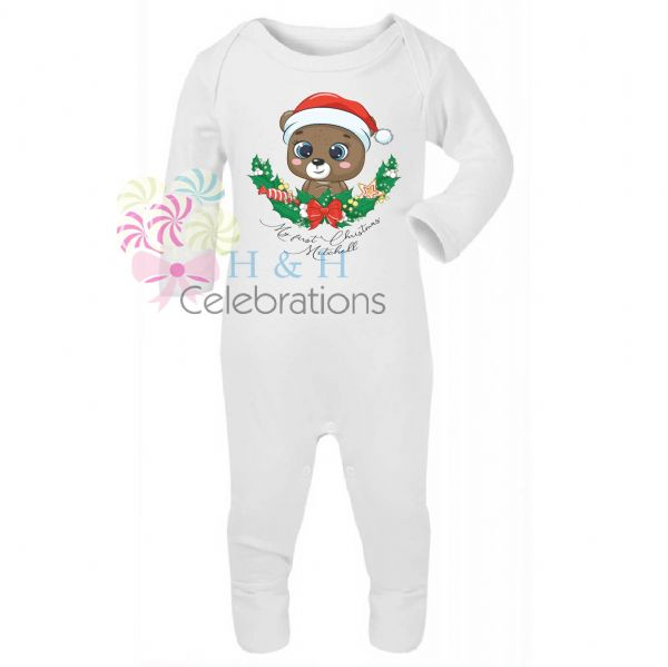 My 1st Christmas Bear Personalised Baby Romper
